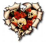 Ripped Torn Metal Heart with Tattoo Style Skull & Red Roses Motif External Car Sticker 105x100mm